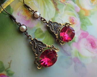Pink Victorian Style Earrings ~ Pink Pearl Earring Dangles ~ Rose Pink ~ Downton Abbey Style ~ Vintage Glass ~ by LadyofTheLakeJewels