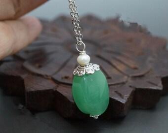Aventurine Necklace - Genuine Aventurine Pendant, Delicate Green Aventurine Jewelry, Yoga Necklace - Heart Chakra Healing