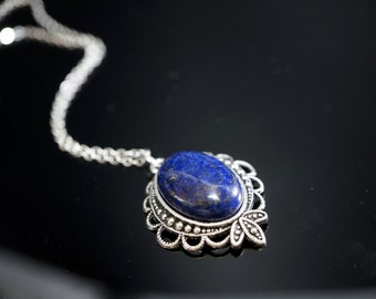 Lapis Lazuli Necklace Silver, Tibetan Silver Genuine Lapis Lazuli Healing Necklace, September Birthstone, Lapis Healing Necklace