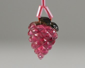 Watermelon Tourmaline Carved Strawberry Drilled Pendant