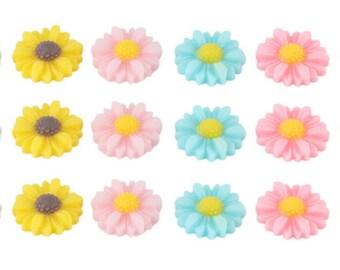 Pack of 10 - Kawaii Resin Flower Cabochons 12mm