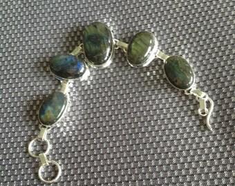 CYBER MONDAY Sale: 925 Sterling Silver Vintage Labradorite Bracelet-Labradorite Bracelet-Adjustable Labradorite Gemstone Bracelet