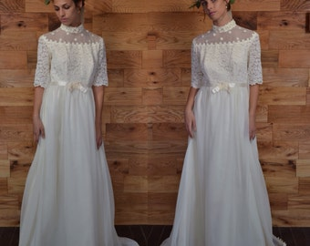 Vintage Off White Lace Bodice Chiffon Wedding Dress // Empire Waist Bridal Gown with Sleeves and Train // Daisy Chain Traditional