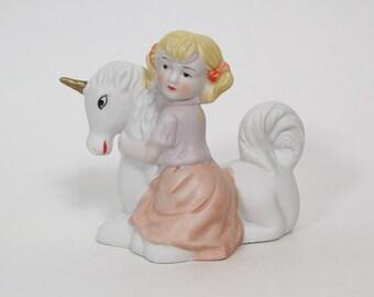Vintage White Unicorn with Girl Figurine 1980s