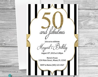 50th Birthday Invitation - Gold Black and White Birthday Invitation - Classy Birthday Invitation - Birthday Invitation - Printable