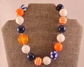 CLEARANCE Blue, Orange & White or Royal Blue and Yellow Bubblegum Bead Chunky Boutique Necklace with Orange  or Yellow Translucent Rose
