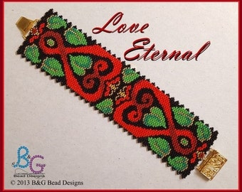 LOVE ETERNAL Peyote Cuff Bracelet Pattern