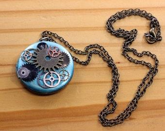 Steampunk Clockwork Teal Locket