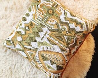 Retro Vintage Throw Pillow- green & gold