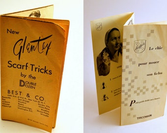 Vintage scarf folding booklets//Glentex//ephemera