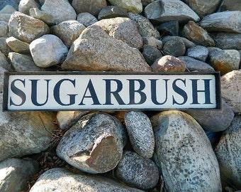 Handmade Wood Sugarbush Ski Sign