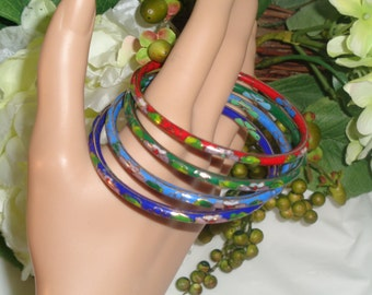 Enamel Cloisonne Multi Color Set of Four Bangle Bracelets Red Blue Green