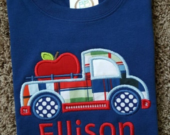 Monogrammed Personalized Boys Apple Truck applique Shirt