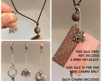 Elephant, keys or teacup / coffee charm - 3 options - Lobster Clasp - removable - silver toned - perfect accessory for journal necklace