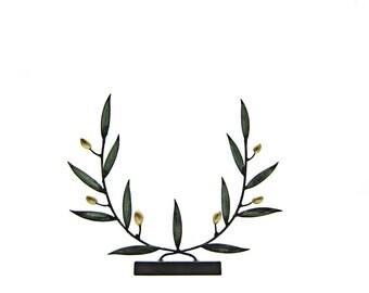 Bronze olive branch sculpture , Ancient Greece symbol , Verdigris bronze wreath Στεφανι ελιας διακοσμητικο μπρουτζινο