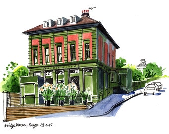 Bridge House Tavern, Penge, London - a print made from my sketchbook drawing