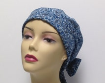 Women's scrub hats. Nurses scrub caps.  Cancer hats, wraps, and scarves. Paisley Blue hats. Adjustable hats.  Size M 22-23 in.  Rayon blend