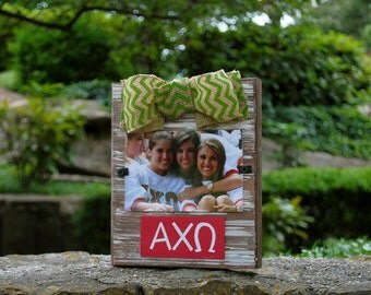 Alpha Chi Omega Whitewashed Rustic Frame With Greek Letters