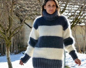 Hand Knit Mohair Sweater White Blue Stripes Fuzzy Turtleneck Jumper Pullover Jersey by EXTRAVAGANTZA MADE to ORDER