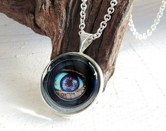 Eye Glass Dome Necklace, Photo Jewelry, Glass Eye Pendant