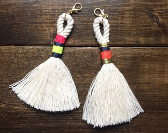 Neon Wrapped Rope Tassel Keychain