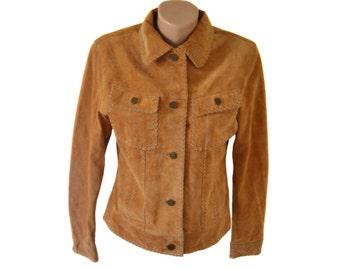 Vintage Leather-Sound women jacket pig suede brown genuine leather size 36