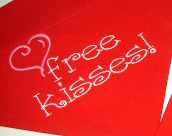 Pink Heart and Free Kisses Embroidered on Red Dog Scarf Over the Collar Dog Bandana