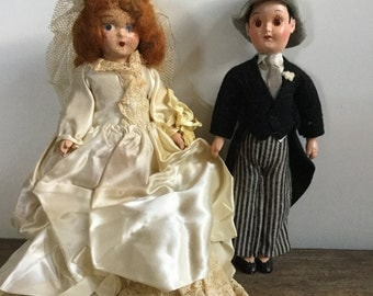 Vintage Bride and Groom Wedding Doll Set