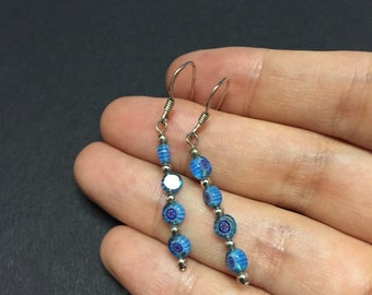 Vintage Sterling silver handmade earrings. 925 silver with blue artisan glass beads drop, stamped 925