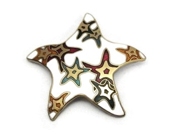 Colorful White Enamel Gold Tone Star Brooch - Whimsical Asymmetrical Star Shaped Pin White Red Green Blue