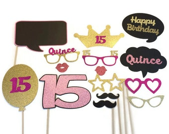 Quinceanera - Sweet 15 - Birthday Party Photo Booth Props - Birthday  Photobooth  with Glitter