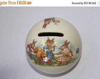 On Sale Vintage Royal Doulton Bunnykins money box, ceramic china nursery childrens, baby rabbits in prams