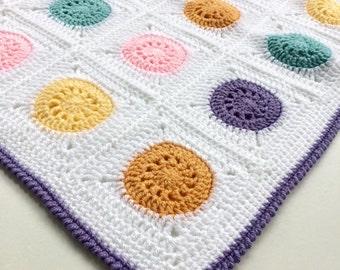 Pastel Granny Square Blanket, Baby Blanket, Baby Shower, Afghan, Purple, White