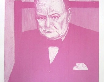 JOSEPH LLAMBIAS - 'Pink Churchill' - hand signed & numbered lithograph - c1980s (edition of 50)