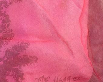 Vera Neumann Vintage Scarf, Verasheer, magenta and pink,oblong