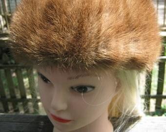 Brown Mink  Pillbox Hat, Sidney Of Roanoke, 1960's Ladies Formal Hat, Soft Brown Mink Fur,