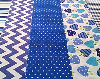 10 x ROYAL BLUE Fabric Jelly Roll Strips Polycotton Patchwork Quilting