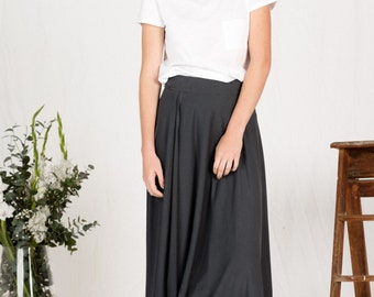Organic Cotton Maxi Wrap Skirt - charcoal