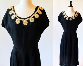 Vintage 1940s black and gold party dress with lace and rhinestone details size S M