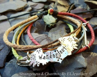 Hand Stamped 'Wanderlust' Winged Heart Adjustable Mixed Cord Bracelet, Heart and Wings,Travel,Compass,Wander, Arrows, Stamped Metal Jewelry.