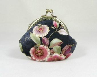 Floral coin purse,  Cotton coin pouch,  kiss lock purse,  framed coin pouch, womens purse