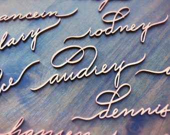 Laser Cut Name Tags, Place Cards (Relaxed Script)  - Set of 10