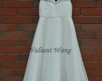 Ivory Lace Chiffon V Neckline Flower Girl Dress Keyhole Birthday Dress With Detachable Sash