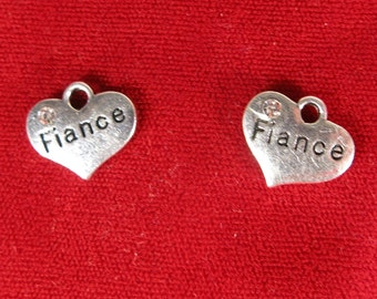 """5pc """"Fiance"""" charms in antique silver style (BC1064)"""