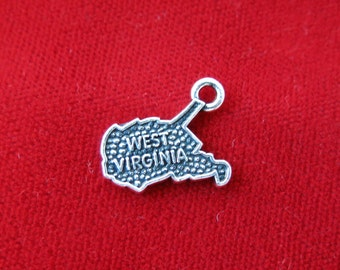 "10pc ""West Virginia"" charms in antique silver (BC799)"