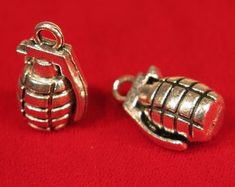 "BULK! 15pc ""grenade"" charms in silver style (BC999B)"