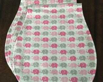 Pink and gray elephant love burp cloth