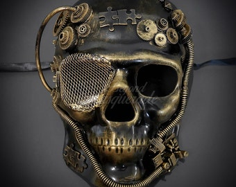 Full Face Men's Masquerade Steampunk Mask, Skull Mask, Half Face Masquerade Mask for Men, Steampunk Accessories - Gold