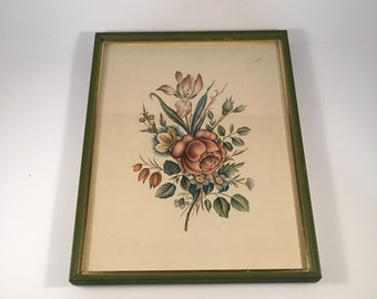 Vintage Antique Rose Botanical Print With Green Frame