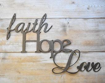 Metal Sign, Faith Hope Love, Word Sign, Farmhouse Decor, Gallery Wall Art, Large Metal Art, Christmas Gift, Wall Art, Living room Decor,